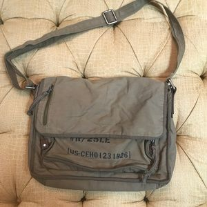 Fossil mens large army green messenger bag
